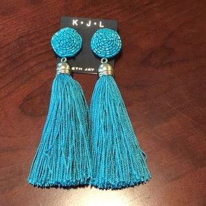 Kenneth Jay Lane Couture Turquoise Tassel Earrings